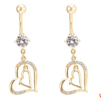 New Charming Dangle Crystal Navel Belly Ring Bling Barbell Button Ring Piercing Body Jewelry = 4804940356