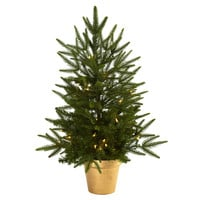 Christmas Tree w/Golden Planter & Clear Lights 2.5'