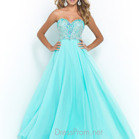 Blush Strapless Sweetheart Prom Gown 9950