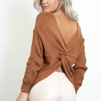 Best Thing Cinnamon Knot Back Sweater