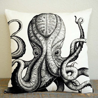 Octopus Sea Monster Pillow Case, Pillow Decoration, Pillow Cover, 16 x 16 Inch One Side, 16 x 16 Inch Two Side, 18 x 18 Inch One Side, 18 x 18 Inch Two Side, 20 x 20 Inch One Side, 20 x 20 Inch Two Side