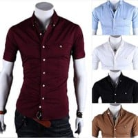 Men Formal Slim Fit Dress Shirts Short Sleeve Casual Shirts Tops Blouse US Stock