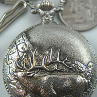 Free Shipping! Beautiful Elk Quartz Pocket Watch • Silver Case  • Working and Ready for Use