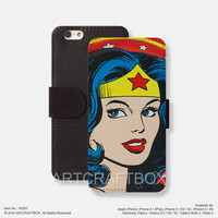 Wonder woman iPhone leather wallet cover iPhone case Samsung Galaxy case 057