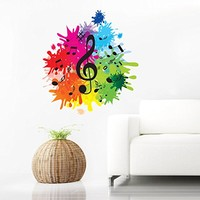 Colorful Wall Decals Note Musical Notes Waves Music Recording Studio Full Color Treble Clef Floral Patterns Wall Vinyl Decal Stickers Bedroom Murals