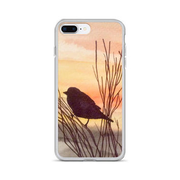 Artsy Phone Case, 7/8 cell case, Sunset iPhone X, Watercolor painted case, Bird iPhone 7 Plus/8 Plus case, iPhone 6 Plus/6s Plus, 6/6s case