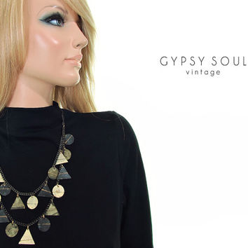 egyptian geometry statement necklace   patina metal necklace   acid oxidized metal necklace   chain neclace   tiered necklace