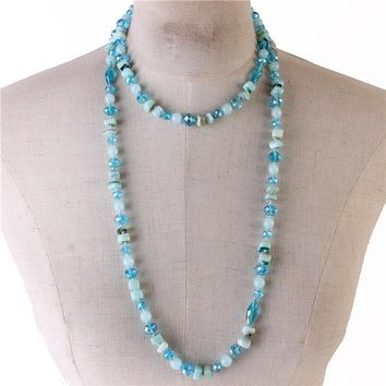 """25"""" natural round stone cubic crystal bead long necklace"""
