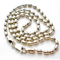 """Italian Sterling Silver Bead Necklace 18"""" Vintage"""