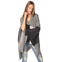 Black printed poncho in lightweight knit
