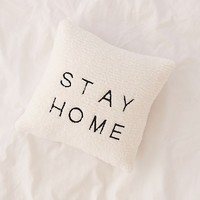 Stay Home Embroidered Amped Fleece Throw Pillow   Urban Outfitters
