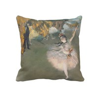 The Star, or Dancer on the stage, c.1876-77 Throw Pillow