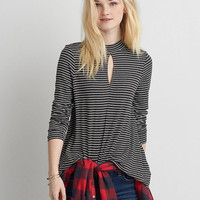 AEO Soft & Sexy Mock Neck T-Shirt , Charcoal Heather