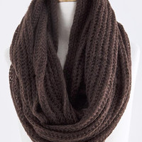 Dark Brown Skinny Cable Knit Infinity Scarf