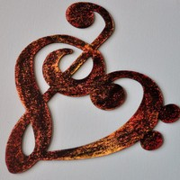 Musicality Wooden HEart ARt Fiery by everlastingdoodle on Etsy