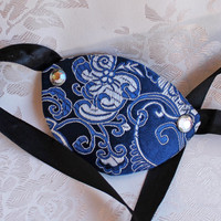 Royal Blue Satin Brocade and Leather Pirate Eye Patch Gemmed Rivets Eye Patch