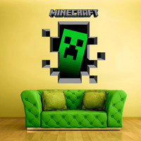 Full Color Wall Decal Vinyl Sticker Decor Art Bedroom Design Mural Like Paintings Minecraft Video Game Creeper Crack Hole Wall (col430)