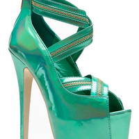 Red Kiss Zip It Up Iridescent Green Peep Toe Pumps