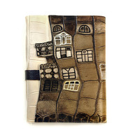 Hand Painted Leather Journal - Concept Art Book, Leather Notebook, Diary, Sketchbook in Brown - Abstract Neighborhood