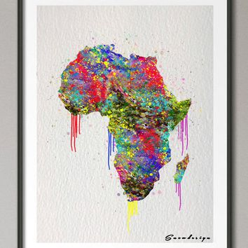 Original watercolor Africa Map canvas painting Mordern wall art poster print Pictures Home Decor wall hanging Christmas gifts