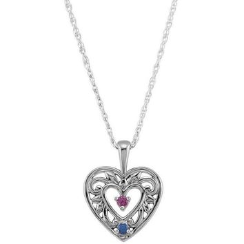 Personalized Filigree Heart Mother's Family Birthstone Pendant Necklace