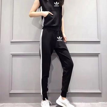 """Nike"" Women Casual Simple Multicolor Stripe Pocket Sleeveless Trousers Set Sportswear"