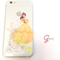 Belle Beauty and the Beast Iphone 5 case 5s case 4 4s 5c 6 6plus Phone Case cover, Glittery Sparkly bling Disney Real glitter. Hard resin