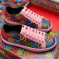 Inseva Gucci Bouncing sugar Colorful Double GG Print Shoes Print Shoes Flat Sneakers Pink