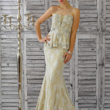 Jovani Evenings 25055 Lace Peplum Bridal Dress or Mother of the Bride SALE