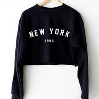 New York 199x Oversized Cropped Sweater - Black