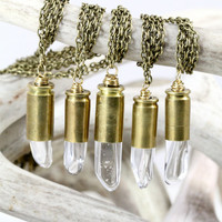 Raw Crystal Necklace Clear Bullet Crystal Necklace