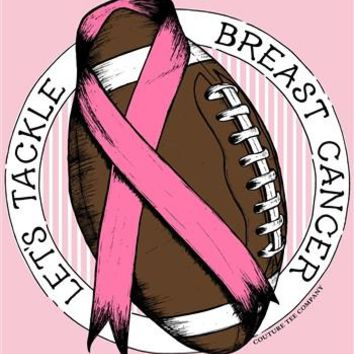Southern Couture Pink Ribbon Breast Cancer Tackle Cancer Awareness Football Girlie Bright T Shirt