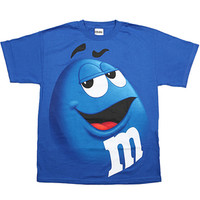 M&M's Candy Character Face T-Shirt - Adult - Blue - XXL