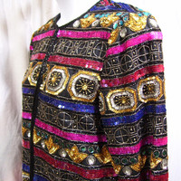Evening Jacket, Rainbow Sequins Beads, Special Occasion Dressing, Scala, Size L Large, Cruise Resort Wear