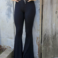 Museum Steps Black Ribbed Fit & Flare Sweater Pants