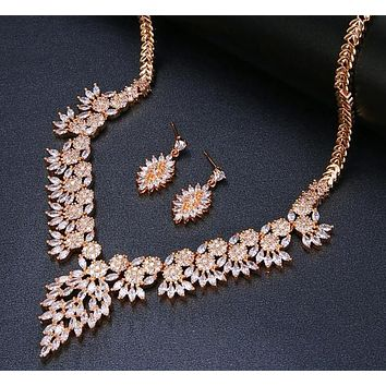 Sparkling Crystal Zircon Flower Jewelry Sets Gift