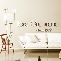 Family Wall Decal Quote Love One Another Bible Verses Art Murals John 15 Stickers Home Bedroom Decor Dorm Living Room Interior Design KY45