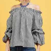 Puff sleeve checkered top