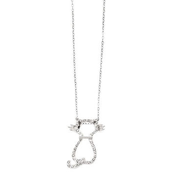 Sterling Silver Diamond Mystique 18in Cat Necklace