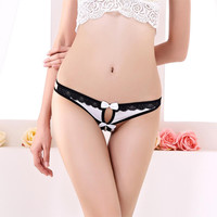 Hot Sexy Bandage G String Women Open Crotch Thongs Panties Intimates Breathable Bowknot Women Lingerie Underwear Girl Thongs