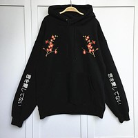 Korean Preppy Style Womens Hoodies Flower Embroidery Pullovers Thick Hoody