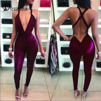 Womens Jumpsuit Rompers 2017 Summer Red bodycon Sexy Club night overalls Multi-wraped bandage long jumpsuits combinaison femme