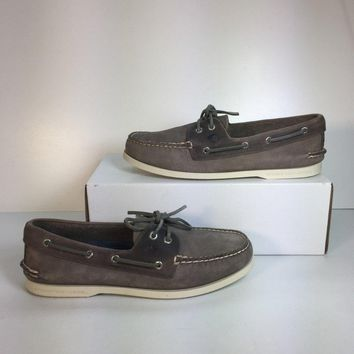 Sperry Top-Sider Authentic Original Men's Grey Leather Boat Shoe, Size 10