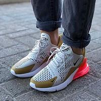 "NIKE Air Max 270 ""White&Gold"" Running Shoes Sneaekr AH6789-700"