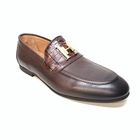 Sigotto Men's Brown Leather/Embossed Gator Penny Loafers