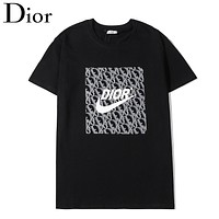 Dior & Nike New fashion letter hook print couple top t-shirt Black
