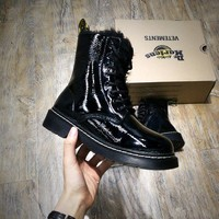 Newest Dr. Martens Modern Classics 1460 Patent Leather Plus Cashmere Boost Black Yellow 524960 - Beauty Ticks