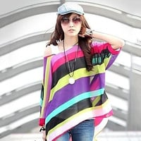 Women's Striped Multi-color Shirt , Casual/Print/Plus Sizes Slash Neck ¾ Sleeve  Plus Size 4XL 5XL 6XL = 1958304900