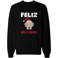 Feliz Navidog Christmas Sweatshirts Funny Retriever Holiday Pullover Fleece Sweaters