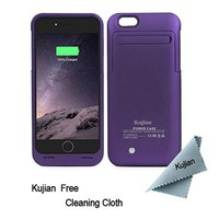 iPhone 6 Battery Case Charger External Battery Backup Charger Case 3500mAh with Kickstand for iPhone 6/6S by Kujian (Purple)